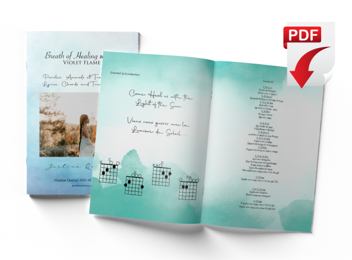 Livret de paroles, accords et traduction - Booket of lyrics, chords and traduction -Justine Quetzal